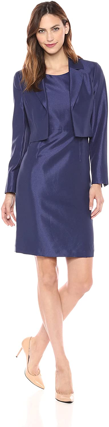 Le Suit Women's Shiny Kiss Front JKT with Notch Collar and Sheath Dress