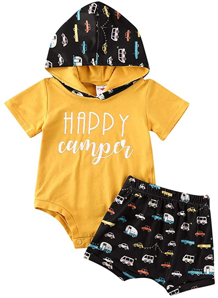 Baby Boys Short Sleeve Bodysuit and Shorts Outfit Happy Camper Hooded Romper + Cartoon Car Shorts Set