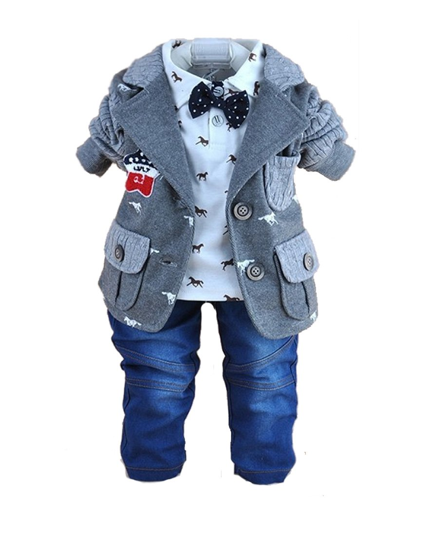SOPO Toddler Baby Boy 3 Piece Cotton Patchwork Jacket, Tshirt, Jeans Gray 5t