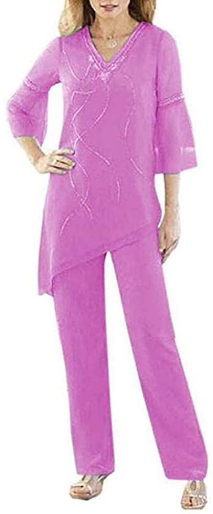 Women's Lilac 2 Pieces Chiffon Mother of The Bride Pant Suits 2/3 Sleeves V-Neck Classy for Wedding Outfits US16