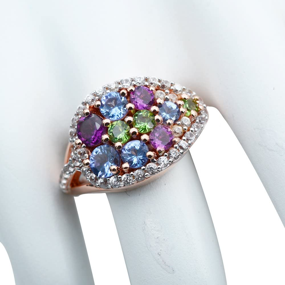 925 Sterling Silver Ring Studded with Tanzanite Rhodolite Tsavorite Zircon Gem Stone Rose Gold Tone.
