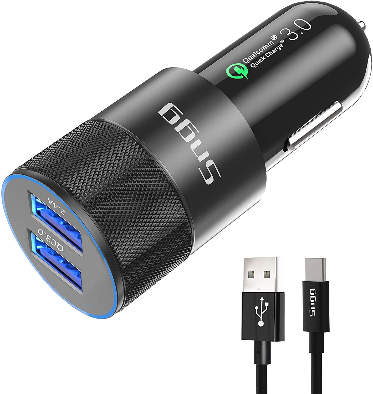 USB Type C Car Charger,Sngg USB C Car Charger Compatible Samsung Galaxy S10 Plus/S10/S10e/S8/S8 Plus/S9/S9 Plus/Note 9/8, Google Pixel/Pixel XL/2/2 XL/3/3 XL, Quick Charge 3.0 Port,3 FT USB C Cable