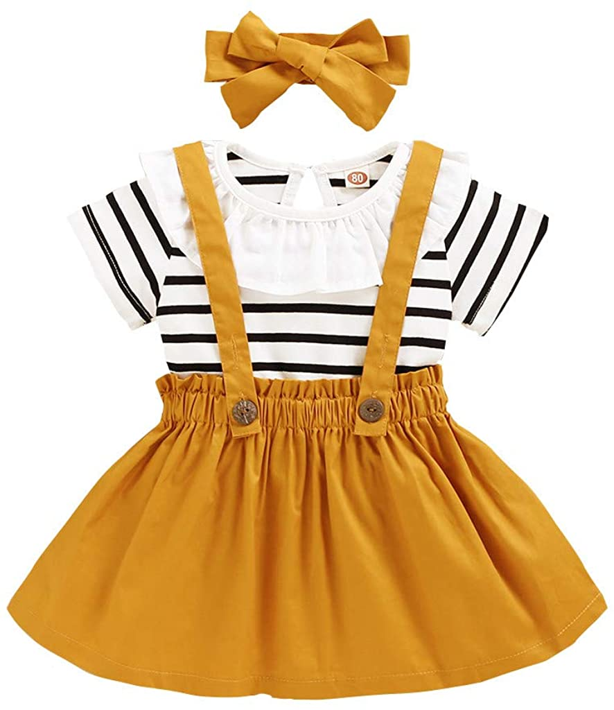 Toddler Baby Girls Summer Set 0-4 Years Kids Ruffles Striped Print Tops+Suspender Skirts Headbands Outfits