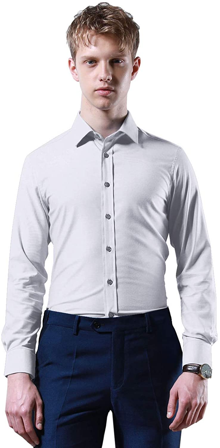 GOODYOUNG Mens Bamboo Fiber Slim Long Sleeve Dress Shirt with Details and Comfortable Material