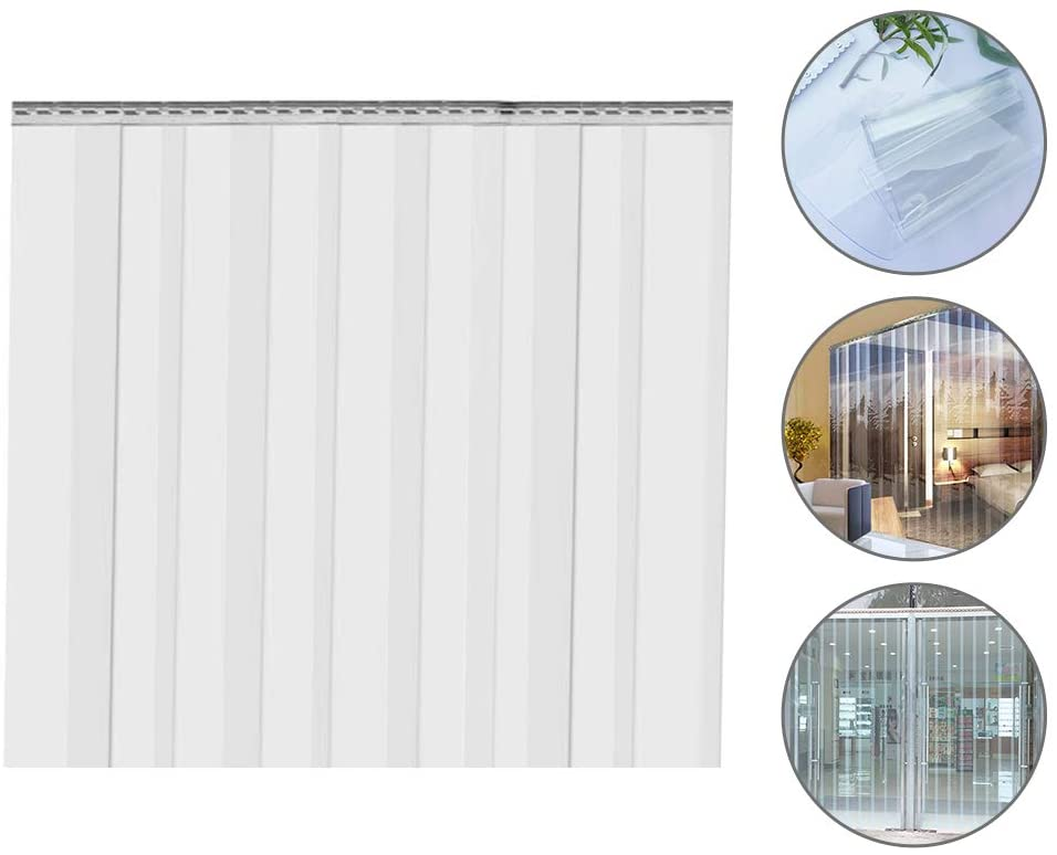 SEAAN 9PCS Plastic Curtain Strips Clear, 82.6 Inch Height 7 Inch Width 0.078 Inch Thickness Strip Door Curtain for Doors Home 4'(W) x7'(H)