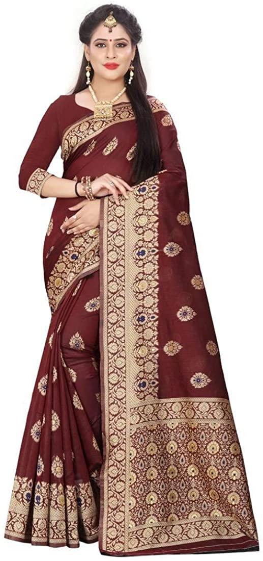 Women's Banarasi Maroon Woven Cotton Silk Saree with Blouse Indian Ethnic Dresses
