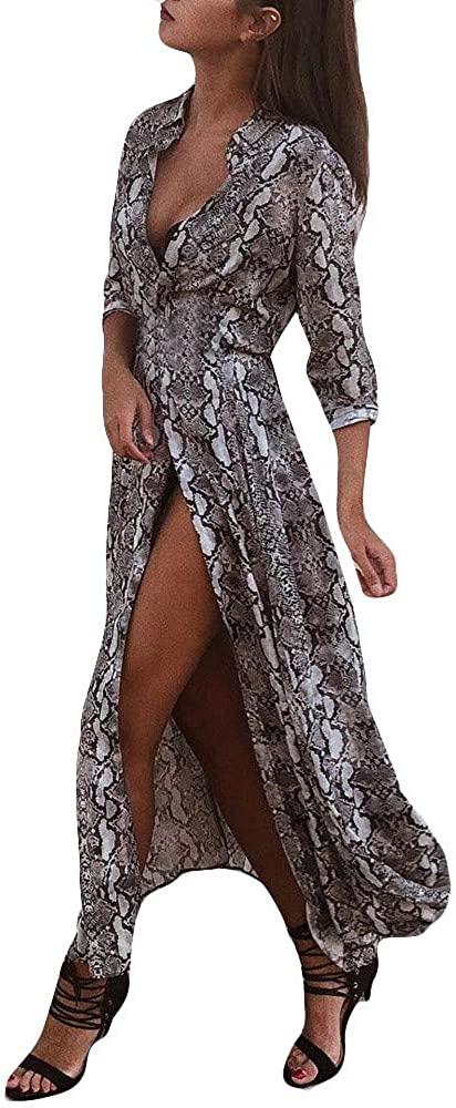 MoonHome Women Long Sleeve Stand Collar Leopard Print Pattern Button Dress