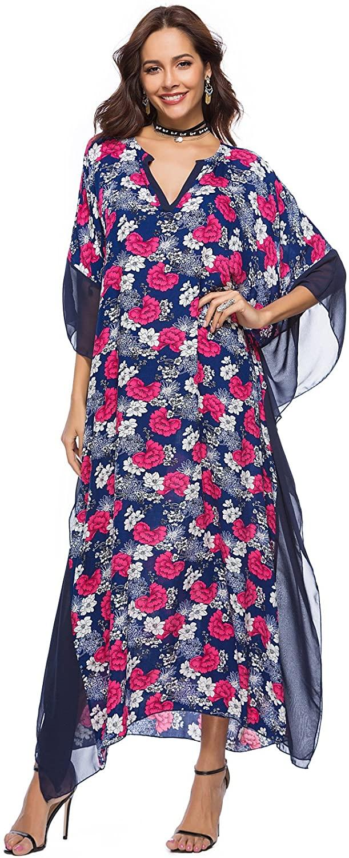YSJERA Women's Floral V Neck Long Caftan Dress/Cover Up/Beach Dress Bohemia Maxi Dress