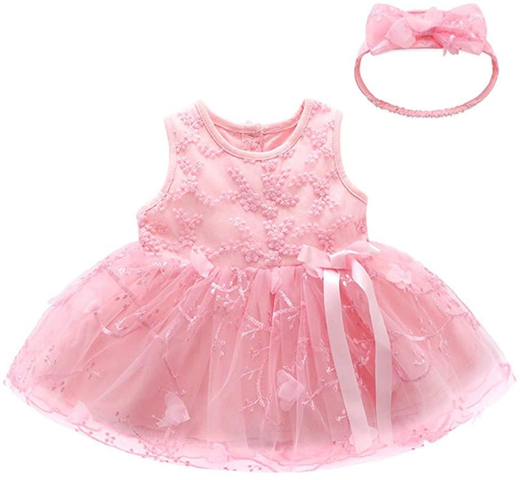 Newborn Toddler Baby Girls Bowknot Sleeveless Floral Princess Birthday Princess Tull Dresses