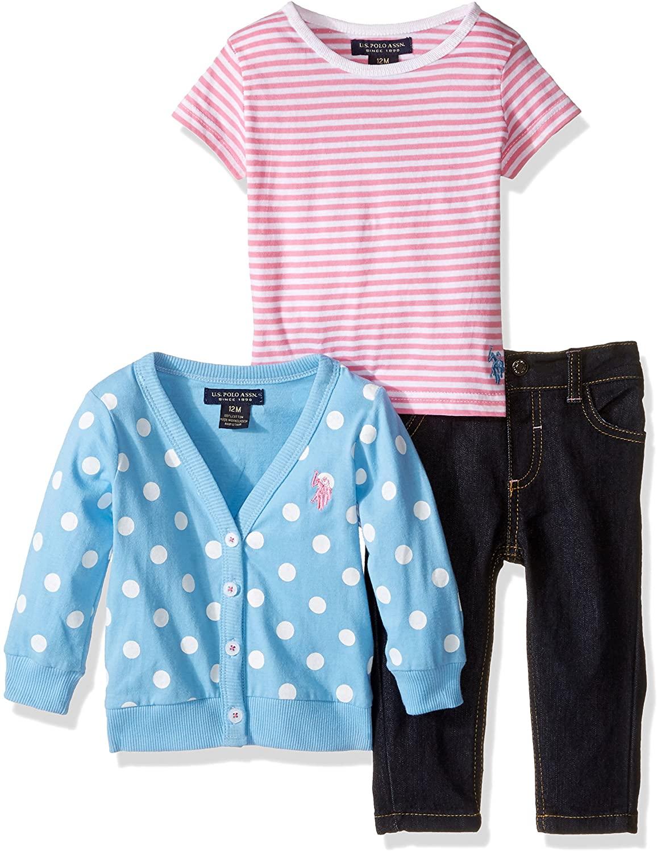 U.S. Polo Assn. Baby Girls' Polka Dot Cardigan Sweater Striped T-Shirt and Skinny Jean