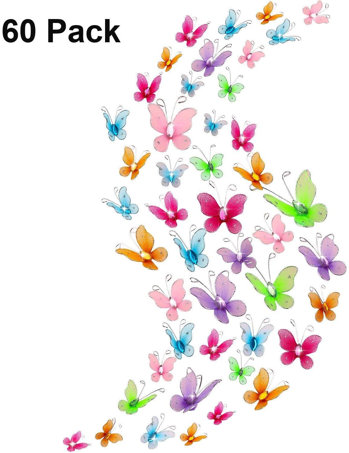 60 Pieces Colorful Butterflies Set, Nylon Butterflies Wire Butterfly with Delicate Gem for Home and Wedding Table Scatter Scrapbook Craft Card Decoration, 2 Sizes (3 cm and 5 cm)