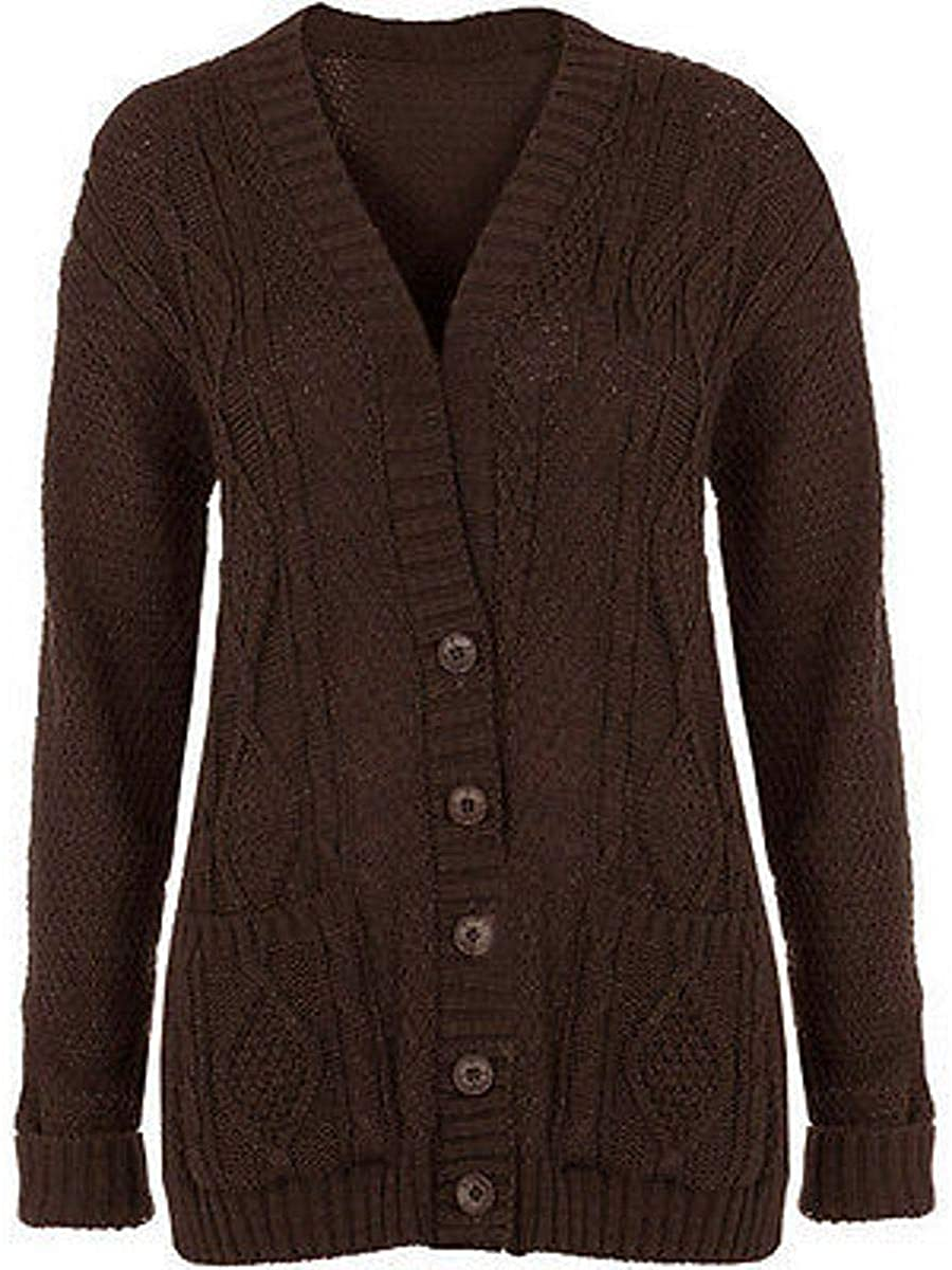 Purple Hanger Women's Long Sleeve Cable Knit Chunky Cardigan Dark Brown 4-6