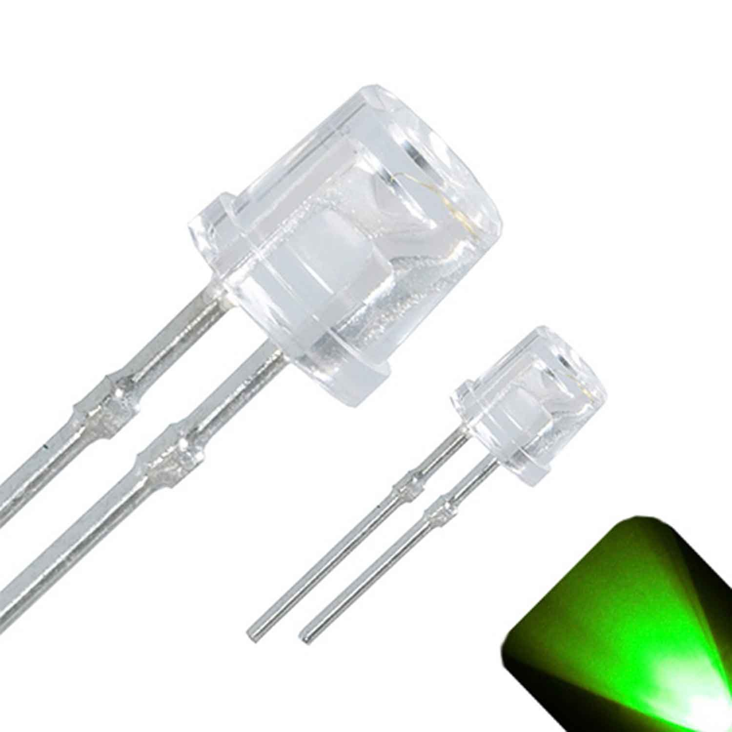 3mm Flat Top Wide Angle Pure Green LED - Ultra Bright (Pack of 20)