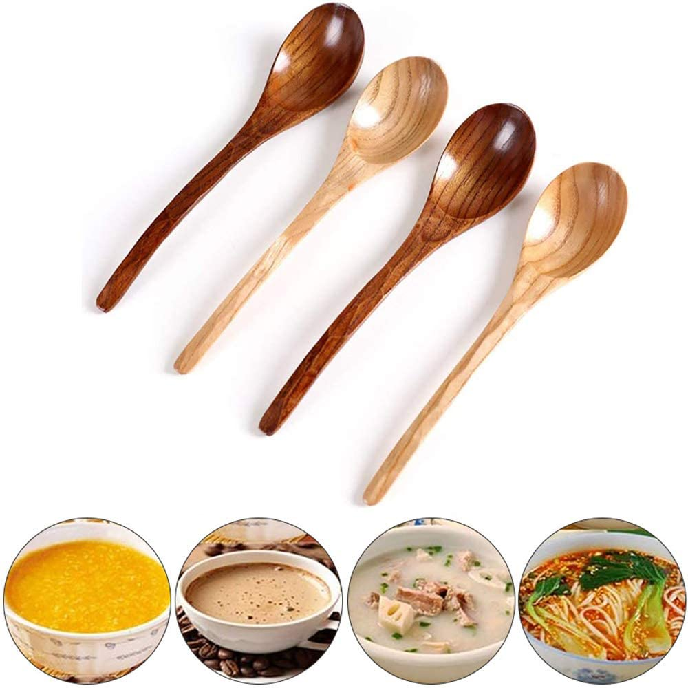 ZPF Wooden Spoons, Made of Natural Wood, Non-Slip, Durable and Sturdy, Perfect for Mixing Batters, Fudge, Frosting, Honey, Jam, 4 Pcs