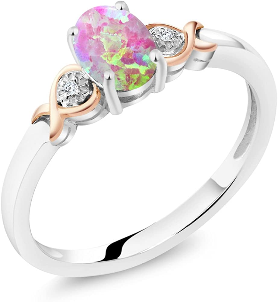 Gem Stone King 925 Sterling Silver & 10K Rose Gold Cabochon Pink Simulated Opal Diamond Ring