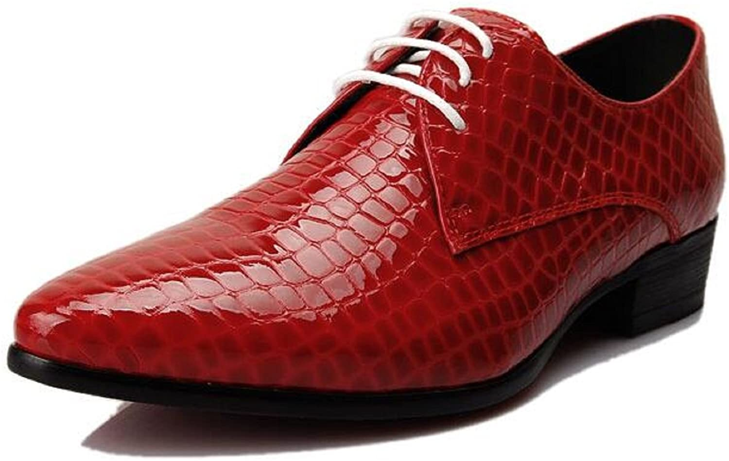 HAPPYSHOP(TM Mens British Style Pint-Tipped Leather Business Shoes Lace-up Winklepickers (M