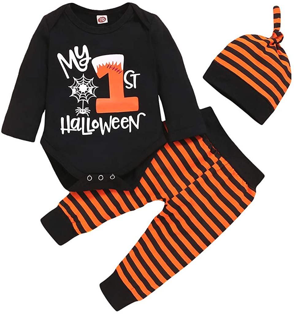 ACEKB Infant Baby Boy Girl Halloween Letter Romper Bodysuit+Striped Pants+Hat Outfits