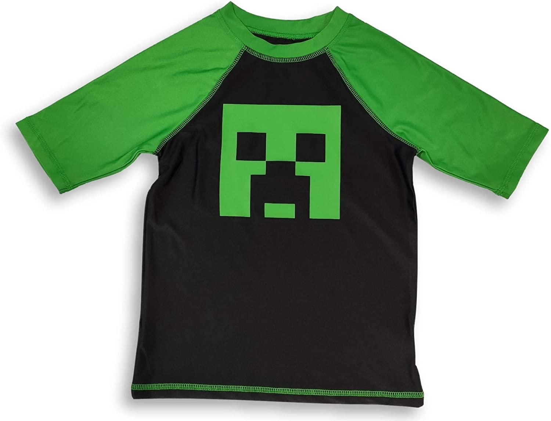 Minecraft Rash Guard Creeper Swim Shirt for Boys