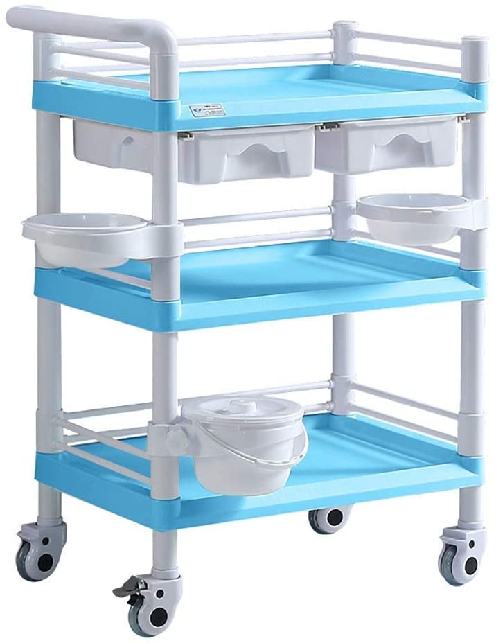 HTLLT Storage Rack Serving Cart Medical Cart Heavy Duty Medical Utility Cart with Drawer ; Dirt Buckrt, Portable Beauty Salon Rolling Trolley for Hospital Dental Clinic, 100-150Kg Capacity,Blue