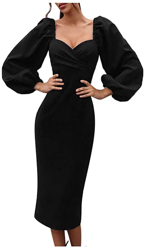 VEFSU Womens Sexy Low Cut V-Neck Bubble Sleeve Solid Fashion Slim Midi Dresses (S-L)