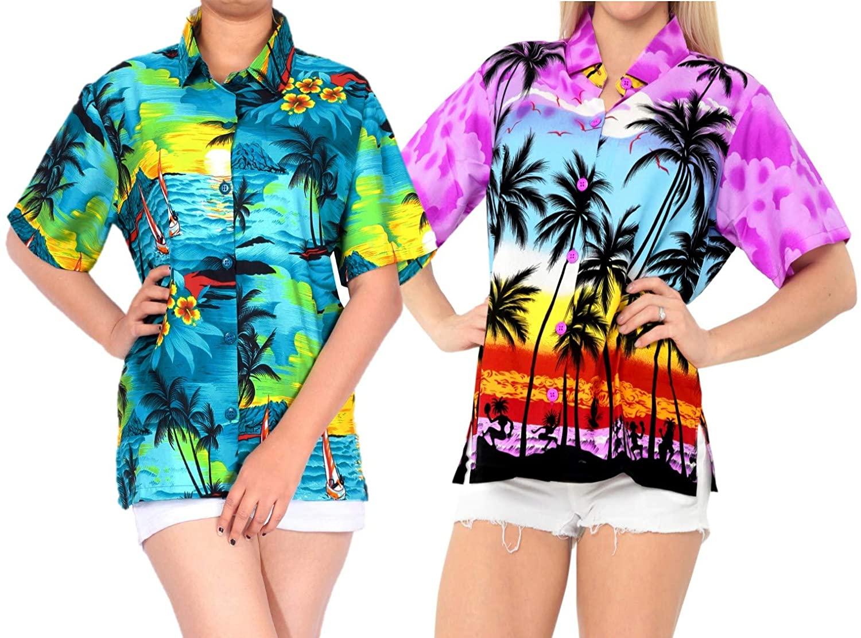 LA LEELA Women's Tropical Hawaiian Shirt Regular Fit Short Sleeve M Work from Home Clothes Women Blouse Pack of 2