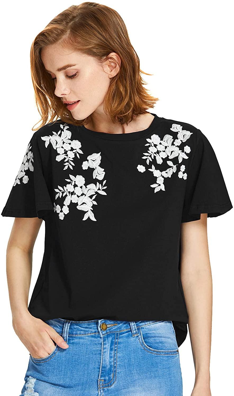 Floerns Women's Flower Embroidered Flutter Short Sleeve T-Shirts