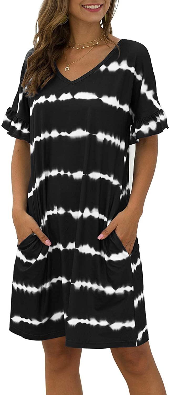 Miessial Women's Casual Striped Tie Dye Print Mini Dress V Neck Loose T-Shirt Dress with Pockets