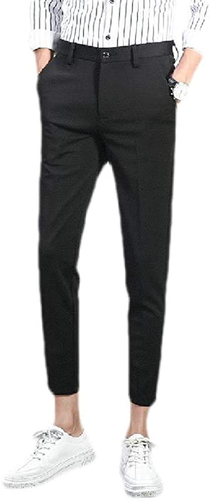 KLJR Mens Slim Solid Color High Rise Non-Iron Flat Front Pants Trousers