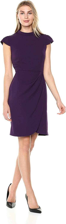 DHgate Brand - Lark & Ro Women's Cap Sleeve Mockneck Ruched Dress