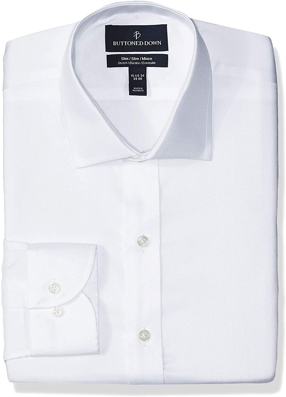 DHgate Brand - BUTTONED DOWN Men's Slim Fit Stretch Twill Dress Shirt, Supima Cotton Non-Iron, Spread-Collar