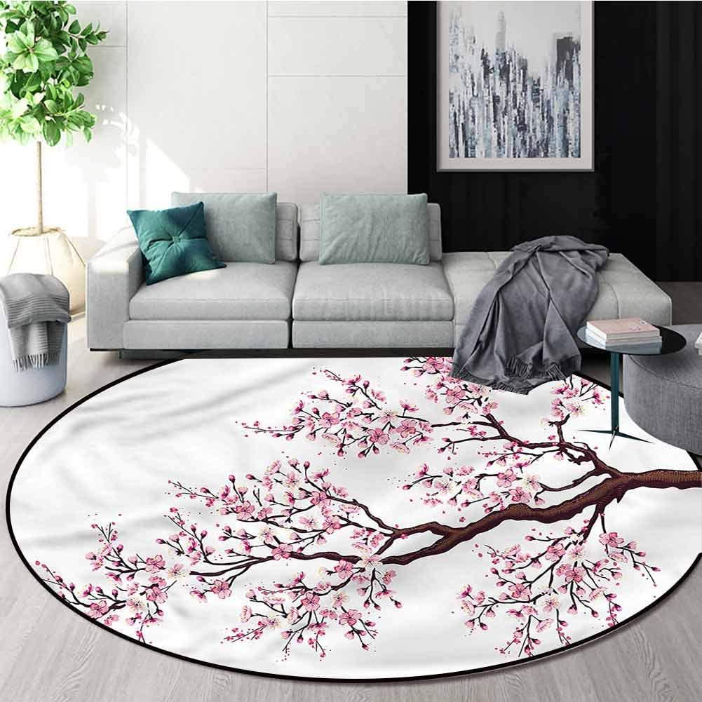 RUGSMAT Japanese Round Rug Kid Carpet,Sakura Branch Blossoms Non Skid Nursery Kids Area Rug for Bedroom Machine Washable Diameter-31