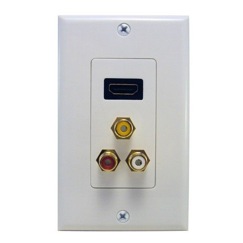 Morris 80452 Combination HDMI Plate and Three RCA Connectors (R,W,Y) Home Entertainment Wall Plate