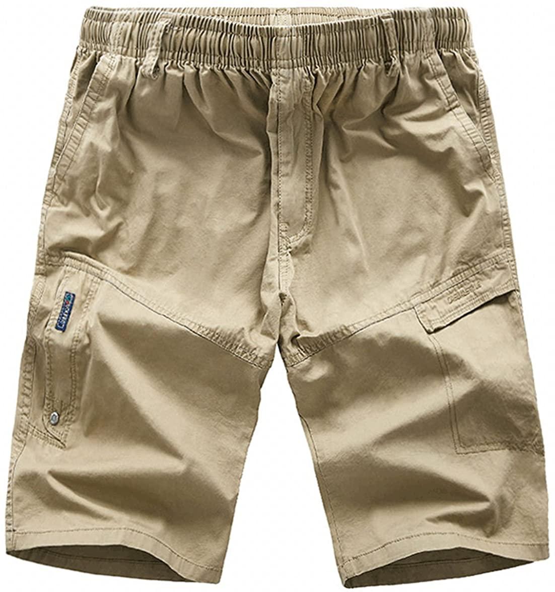 chouyatou Men's Casual Elastic-Waist Loose Multi-Pocket Chino Cargo Work Shorts