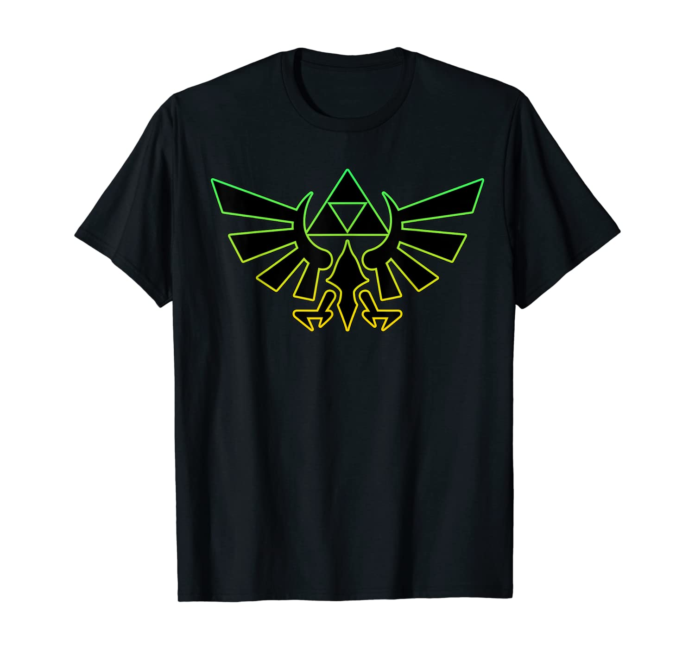 Nintendo Zelda Hyrule Crest Triforce Neon Outline T-Shirt T-Shirt