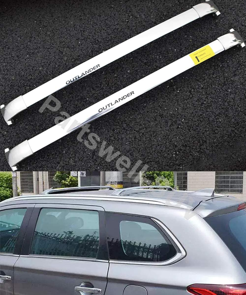 YiXi-Partswell 2Pcs Roof Rack Cross Bars Crossbar Baggage Luggage Rack Stainless Steel Fit for Mitsubishi Outlander 2013-2020 - Silver