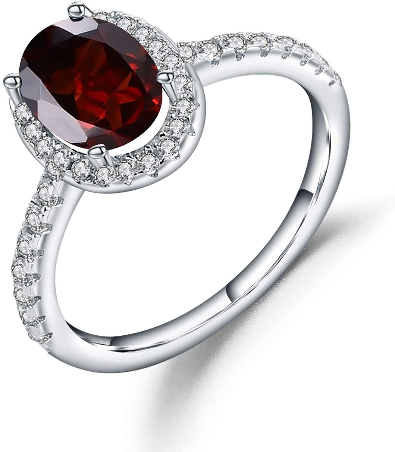 1.47Ct Oval Red Garnet 925 Sterling Silver Gemstone Halo Engagement Ring For Women Size 5 to 10