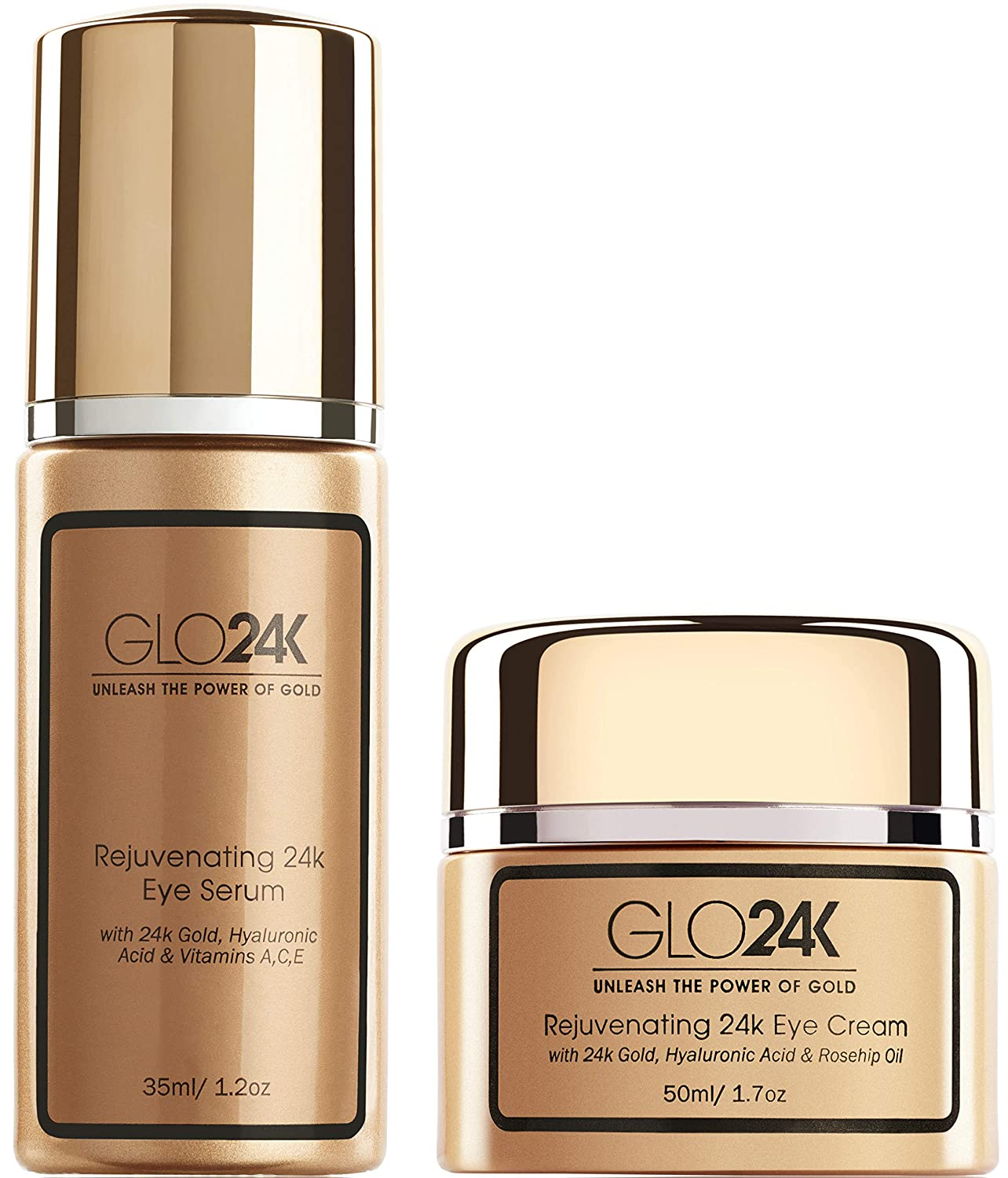 GLO24K Rejuvenating 24k Eye Cream and Serum With 24k Gold, Hyaluronic Acid, Vitamins A,C,E
