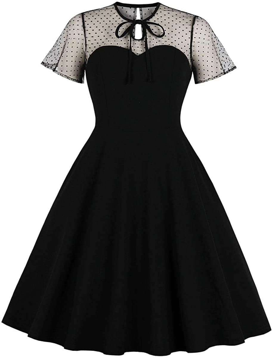 Wellwits Womens Polka Dots Embroidery Keyhole Tie Vintage Cocktail Dress