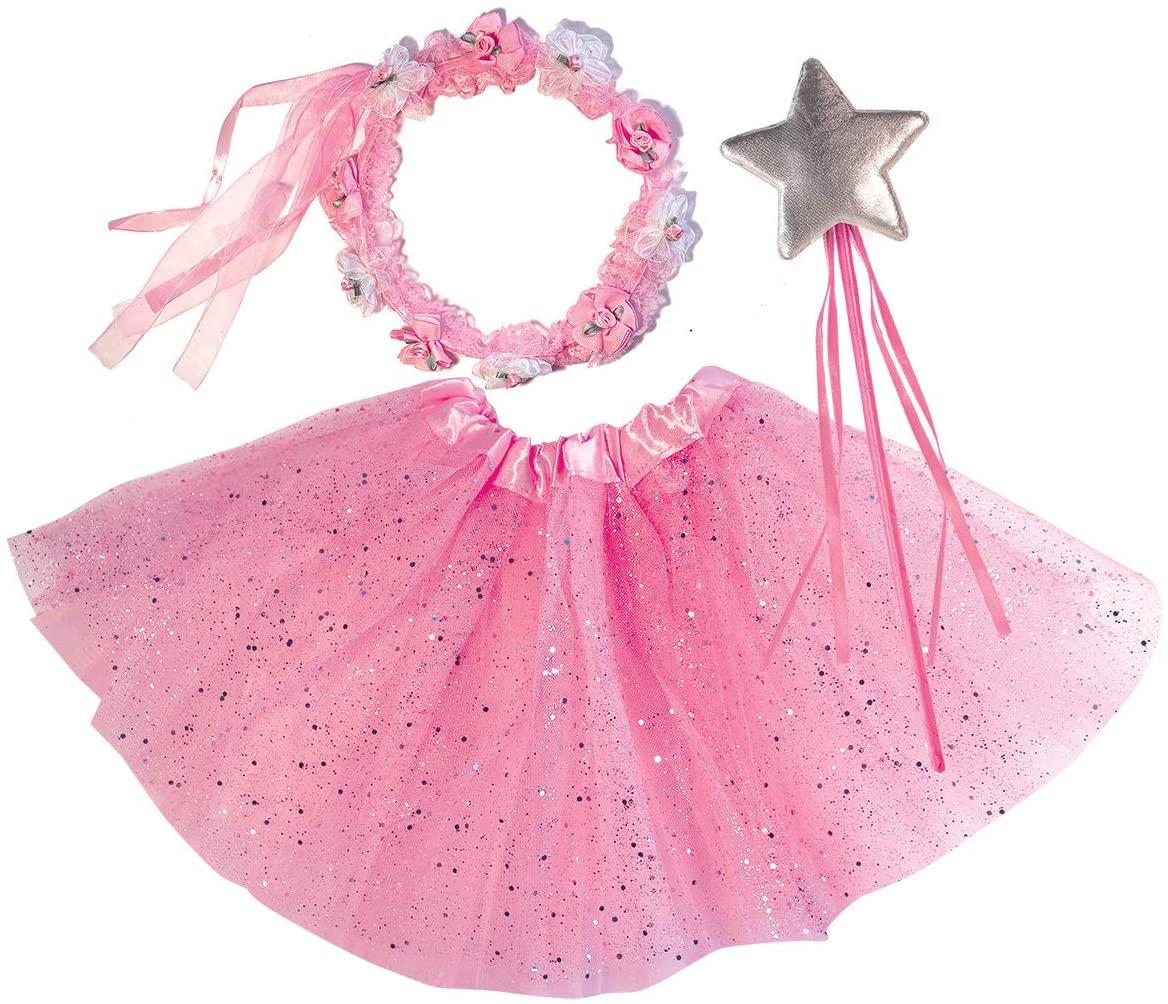 OLYPHAN Pink Tutu Costume for Toddlers: Dress Up Tutu Costumes Toddler Girls Halloween Star Magic Wand, Flower Princess Crown Headband Birthday (Glitter)