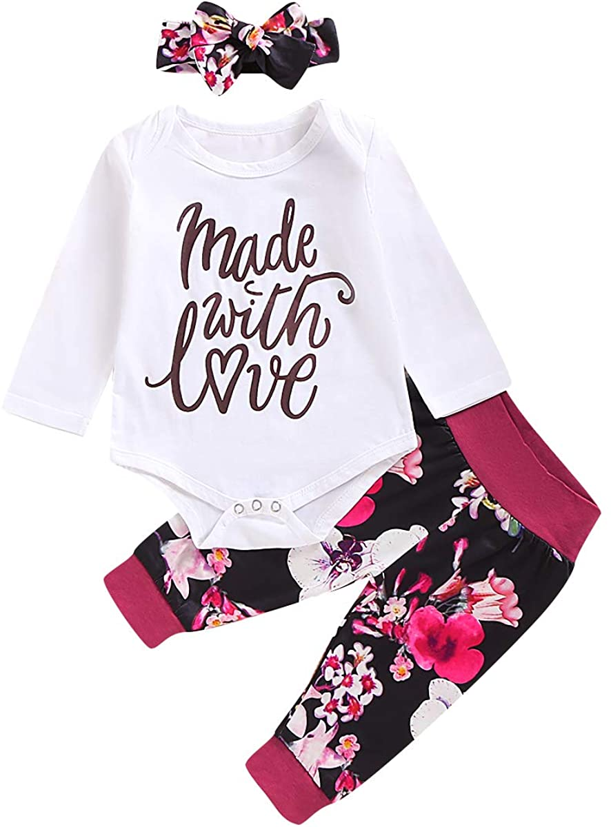 Newborn Baby Girl Clothes Set Long Sleeve Romper Letter Print Bodysuit+Long Pants Floral Hat Headband Outfits