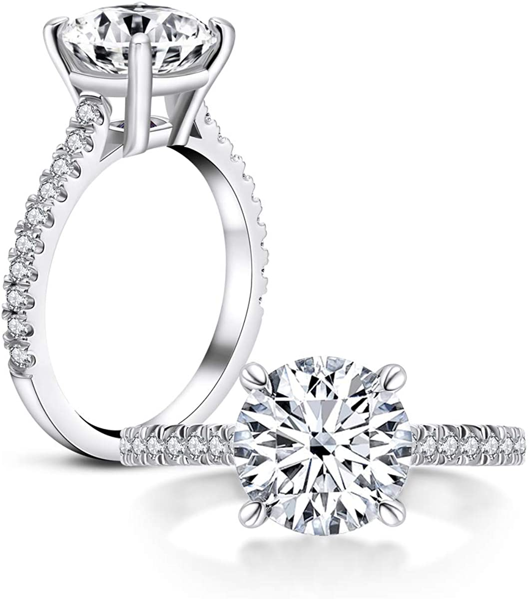 Erllo 3 Carat Round Cut Cubic Zirconia 925 Sterling Silver Women Wedding Engagement Rings (6.5)