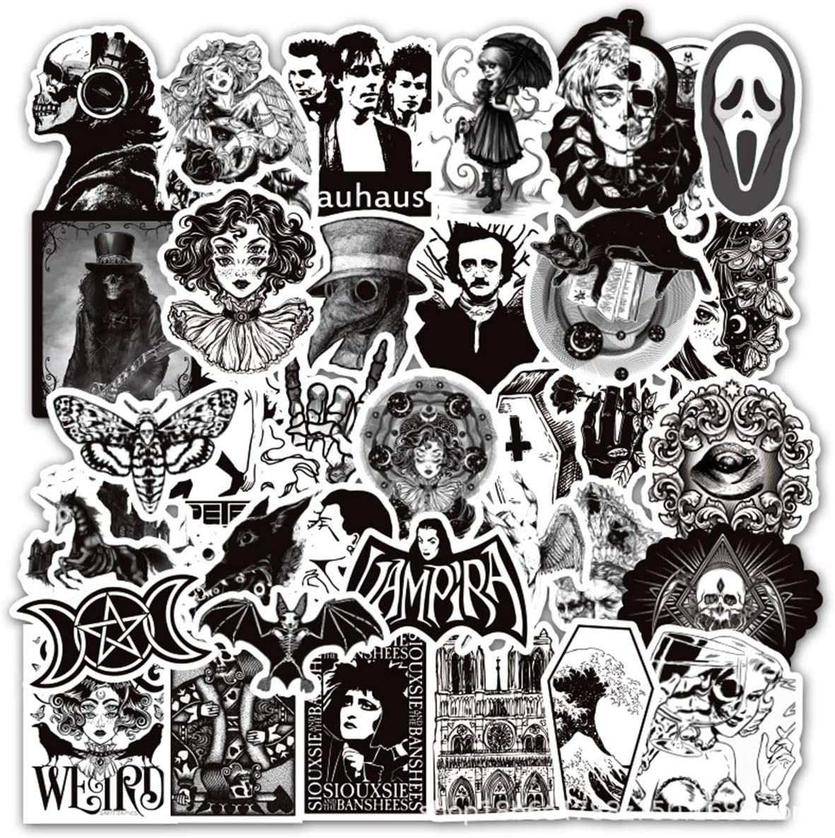 50PCS Gothic Stickers for Water Bottle,Black White Skull Stickers,Waterproof Vinyl Stickers Perfect for Laptop Phone Car Skateboard Water Bottle. /Gothic1