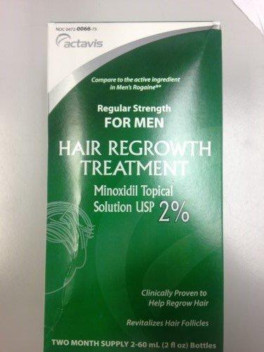 Mens Minoxidil 2% Regular Strength Hair Regrowth Treatment Solution, 2 Pack - 60 mL bottles per box (2 boxes 4 total 60 mL bottles)