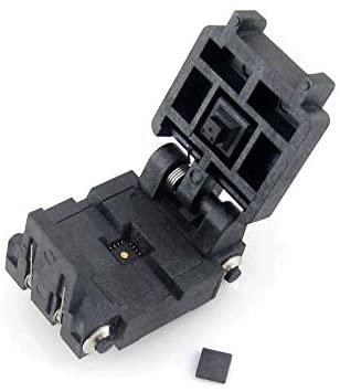 QFN16 Clamshell Programming Adapter Socket/Burning Socket/IC Test Socket 16QN65K14040, 16-Pin, 0.65mm Pitch, IC Test Burn-in Socket, Applied to QFN16, MLP16, MLF16 Packages.