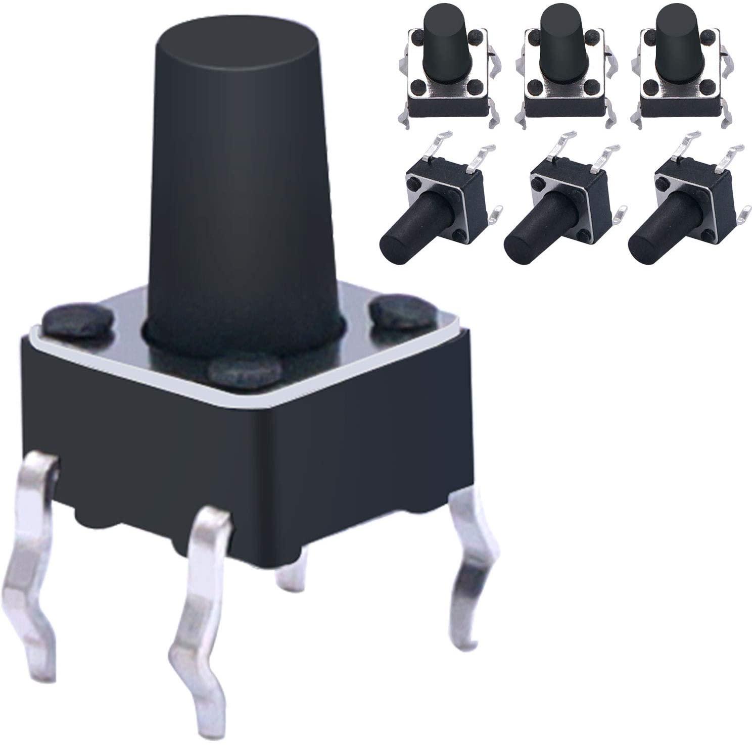 100 Pcs 6 x 6mm x 9mm PCB Momentary Tactile Tact Push Button Switch 4 Pin DIP (Black)