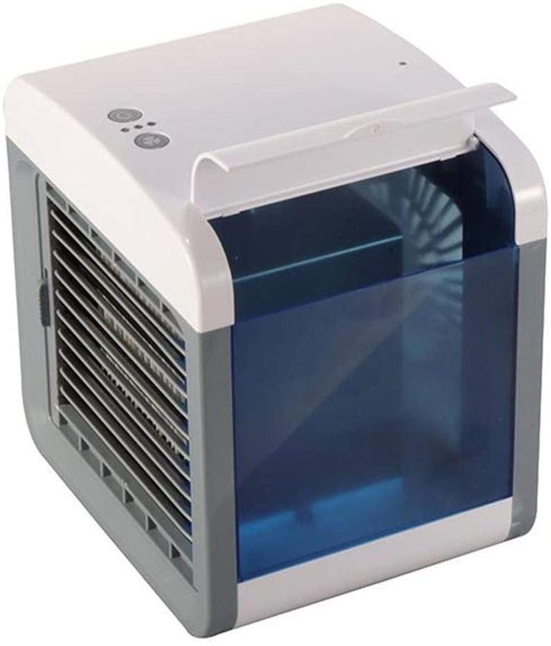 Mini Portable Air Conditioner, Mini Portable Air Cooler Fan Air Conditioner, USB Desktop Silent Fan Purifier for Bedroom Kitchen Office Desktop USB Charging (Color : White)
