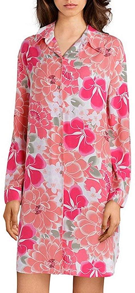 Josie Natori Sleep Shirt Rose Multi Floral Abstract Suzani Rayon, Medium