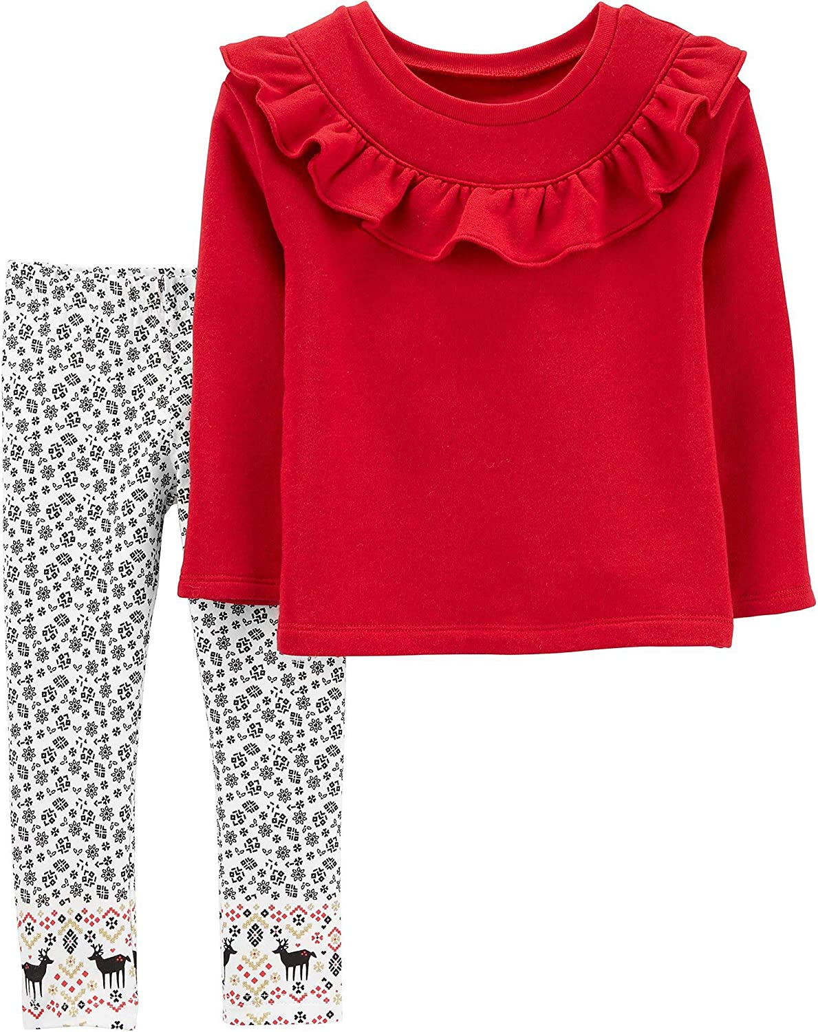 Carters Toddler Reindeer Ruffle 2-Piece Leggings Set Outfit - Red/White/Multi 9 Months