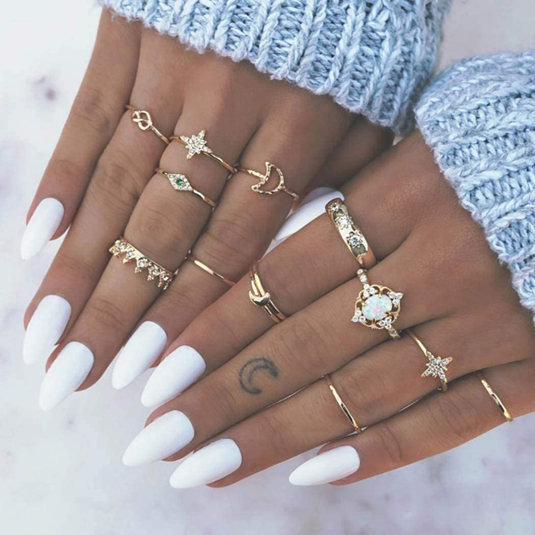 Derora Boho Ring Crown Stackable Rings Gold Rhinestone Moon Midi Ring Star Joint Knuckle Ring Jewelry for Women and Girls