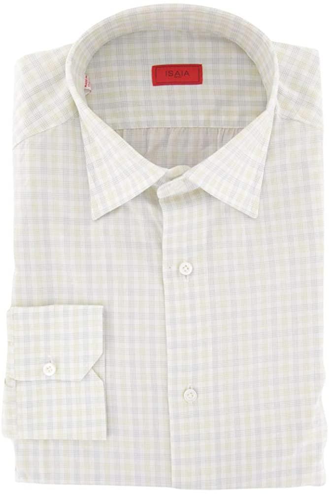Isaia Plaid Yellow Medium Spread Collar Cotton Button Down Dress Shirt